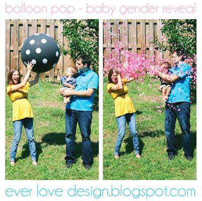 balloon pop baby gender reveal photo