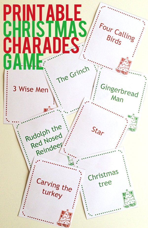 Download a free printable christmas charades game party for Printable christmas craft ideas
